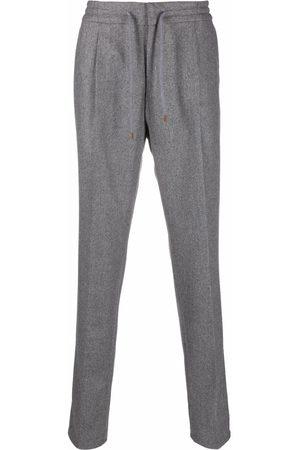 Brunello Cucinelli Men Straight Leg Pants - Pleated drawstring trousers - Grey