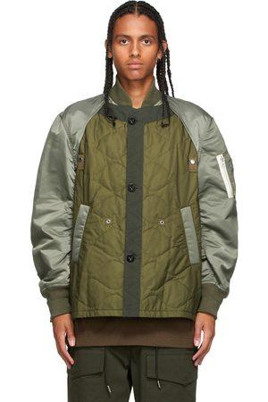 SACAI Men Bomber Jackets - Khaki Nylon Twill Bomber Jacket
