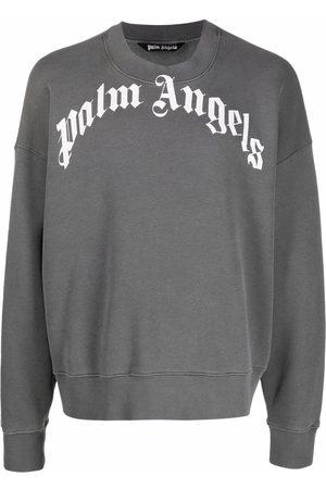 Palm Angels Men Sweatshirts - GD CURVED LOGO CREW BLACK WHITE - Grey
