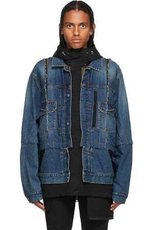 SACAI Blue & Black Denim Layered Jacket