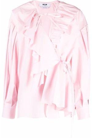 Msgm Ruffled-trim wrap blouse