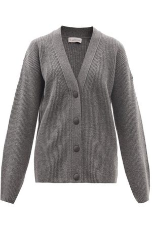 Moncler Rib-knitted Virgin Wool-blend Cardigan - Womens - Grey