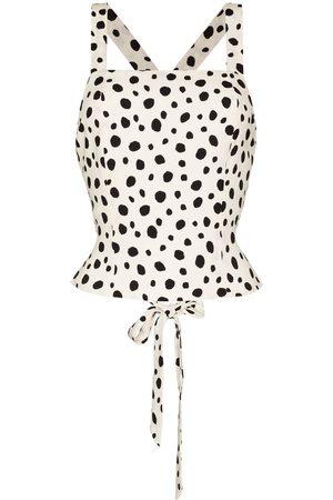 Reformation Women Halterneck Tops - Halterneck dalmatian lace-up blouse
