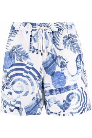 Sunspel Men Swim Shorts - Graphic-print drawstring swim shorts
