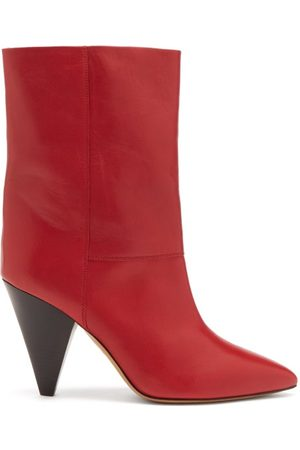 Isabel Marant Locky Cone-heel Leather Ankle Boots - Womens