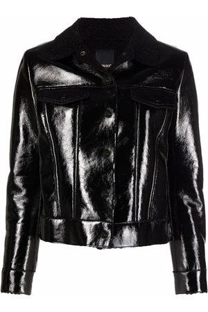 Pinko Women Leather Jackets - Contrasting-collar high-shine jacket