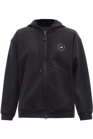 adidas Logo-print Zipped Cotton-blend Hooded Sweatshirt - Womens