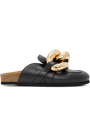 J.W.Anderson Women Loafers - Black Leather Curb Chain Loafers