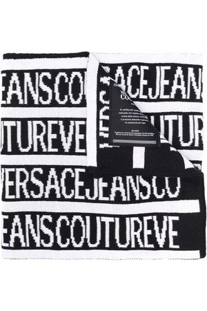 VERSACE Logo-print knitted scarf