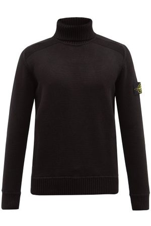 Stone Island Men Turtlenecks - Logo-patch Cotton-blend Roll-neck Sweater - Mens