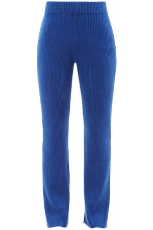 THE ELDER STATESMAN Women Wide Leg Pants - Ribbed-knit Cashmere Flared-leg Trousers - Womens