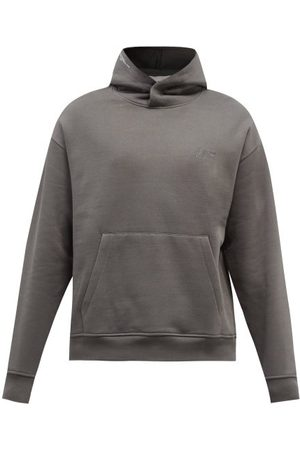 Frame Cotton-blend Jersey Hooded Sweatshirt - Mens - Grey