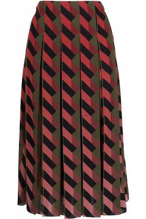 Salvatore Ferragamo Women Printed Skirts - Geometric-print pleated skirt