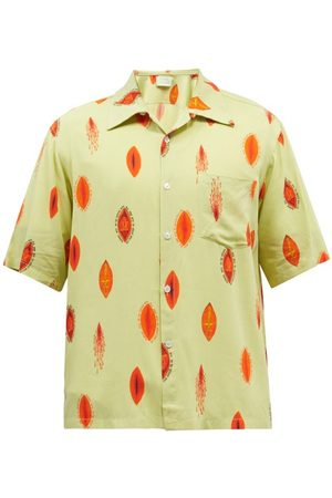 ARIES Men Short sleeves - Sacred Vulva-print Short-sleeved Bowling Shirt - Mens