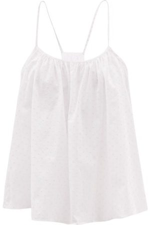 Loup Charmant Women Camisoles - Scoop-neck Swiss-dot Cotton-voile Cami Top - Womens