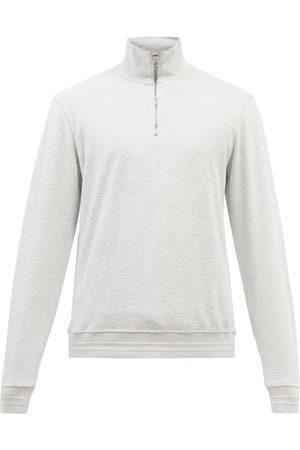 Orlebar Brown Isar Zip-neck Cotton-terry Sweater - Mens - Light Grey