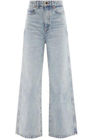 Khaite Ella High-rise Wide-leg Cropped Jeans - Womens - Light