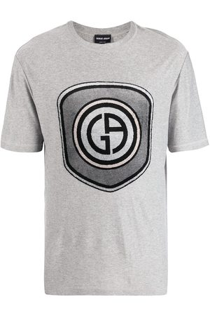Armani Men Short Sleeve - Logo-print short-sleeved T-shirt - Grey