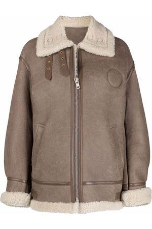 LISKA Shearling-trim leather jacket