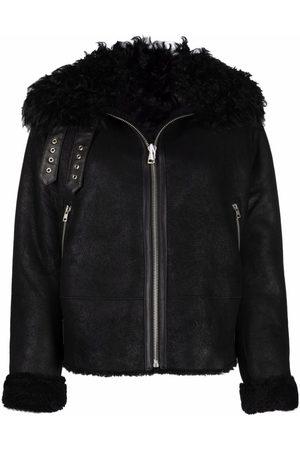 LISKA Women Leather Jackets - Shearling-trim sheepskin jacket
