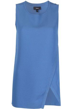 THEORY Wrap sleeveless blouse
