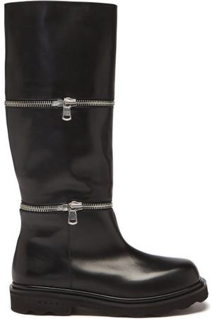 Marni Zip-off Panel Leather Knee-high Boots - Womens