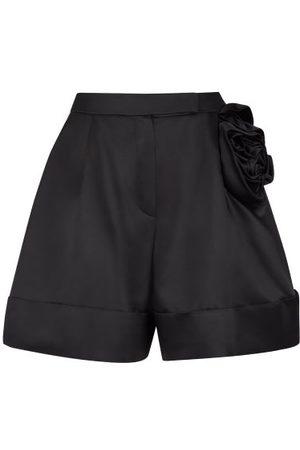 Simone Rocha Rose-appliqué Satin Shorts - Womens