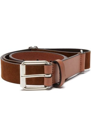 Anderson's Adjustable Leather And Suede Belt - Mens - Light