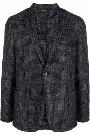 Z Zegna Check-print buttoned blazer