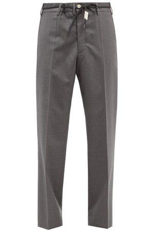 Marni Men Straight Leg Pants - Drawstring-waist Wool Straight-leg Trousers - Mens - Grey