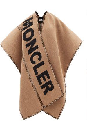 Moncler Women Jackets - Logo-intarsia Wool-blend Shawl - Womens