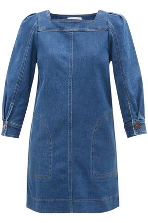See by Chloé Balloon-sleeves Denim Mini Dress - Womens - Mid Denim