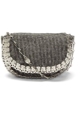 Paco rabanne 1969 Small Wool-blend Shoulder Bag - Womens - Grey Multi