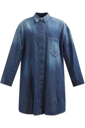 MM6 MAISON MARGIELA Women Denim Jackets - Hybrid Washed-denim And Gabardine Coat - Womens - Mid Denim
