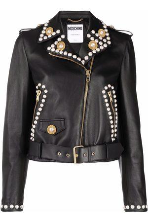 Moschino Women Leather Jackets - Double Question Mark faux-pearl biker jacket