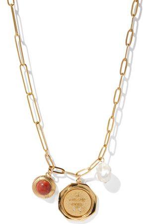 BY ALONA Women Necklaces - Estella Jasper, Pearl & 18kt -plated Necklace - Womens - Multi