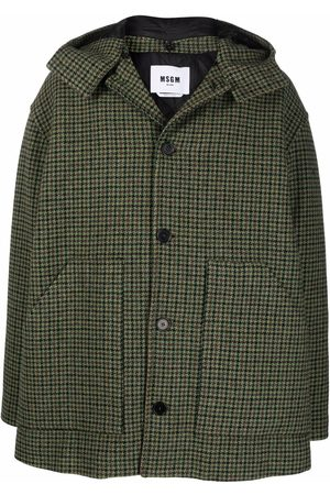 Msgm Men Coats - Checked tweed single-breasted coat