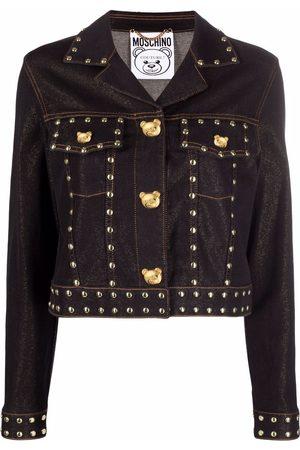 Moschino Women Fleece Jackets - Teddy Studs denim cropped jacket