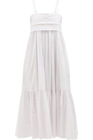 Loup Charmant Women Midi Dresses - Iliana Tie-back Organic-cotton Midi Dress - Womens