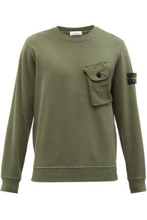 Stone Island Men Sports Hoodies - Patch-pocket Cotton-jersey Sweatshirt - Mens