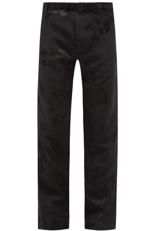 Haider Ackermann Belted Floral-jacquard Straight-leg Trousers - Mens
