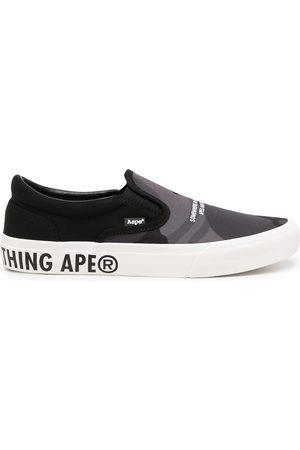 AAPE BY A BATHING APE Men Flat Shoes - Logo-print slip-on sneakers