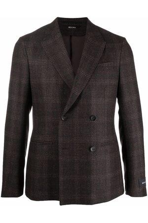 Z Zegna Men Blazers - Checked double-breasted blazer
