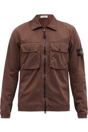 Stone Island Logo-patch Zipped Cotton-tela Overshirt - Mens