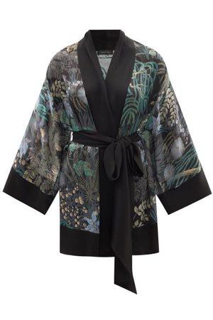 CARINE GILSON Women Bathrobes - Rainforest-print Silk Short Robe - Womens - Multi