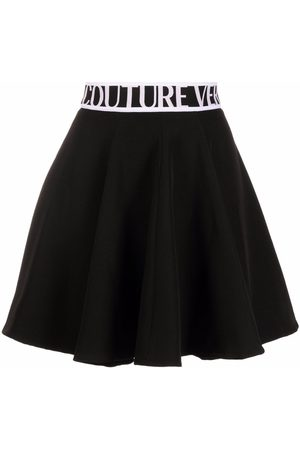 VERSACE Women Printed Skirts - Logo-print flared miniskirt