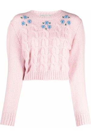 Alessandra Rich Women Sweaters - Cropped cable knit jumper