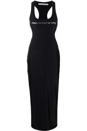 Alexander Wang Logo-print fitted maxi dress