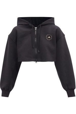 adidas Women Sweatshirts - Cropped Cotton-blend Jersey Hooded Sweatshirt - Womens
