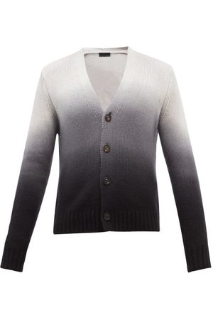 Iris von Arnim Men Cardigans - Nixon Ombré Dip-dye Cashmere Cardigan - Mens - Grey Multi
